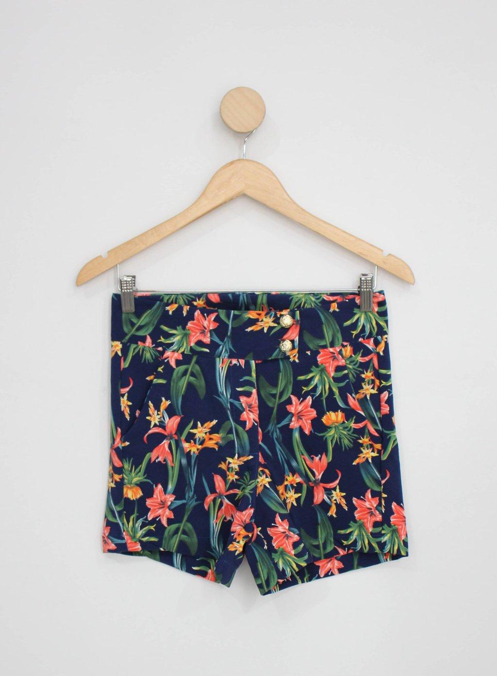 Shorts Girassol Feminino Azul Marinho Estampado
