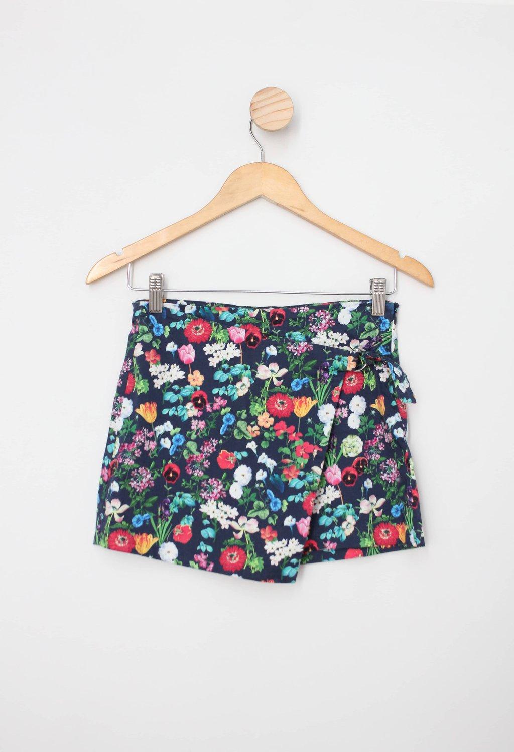 Shorts-saia Infantil zara azul floral