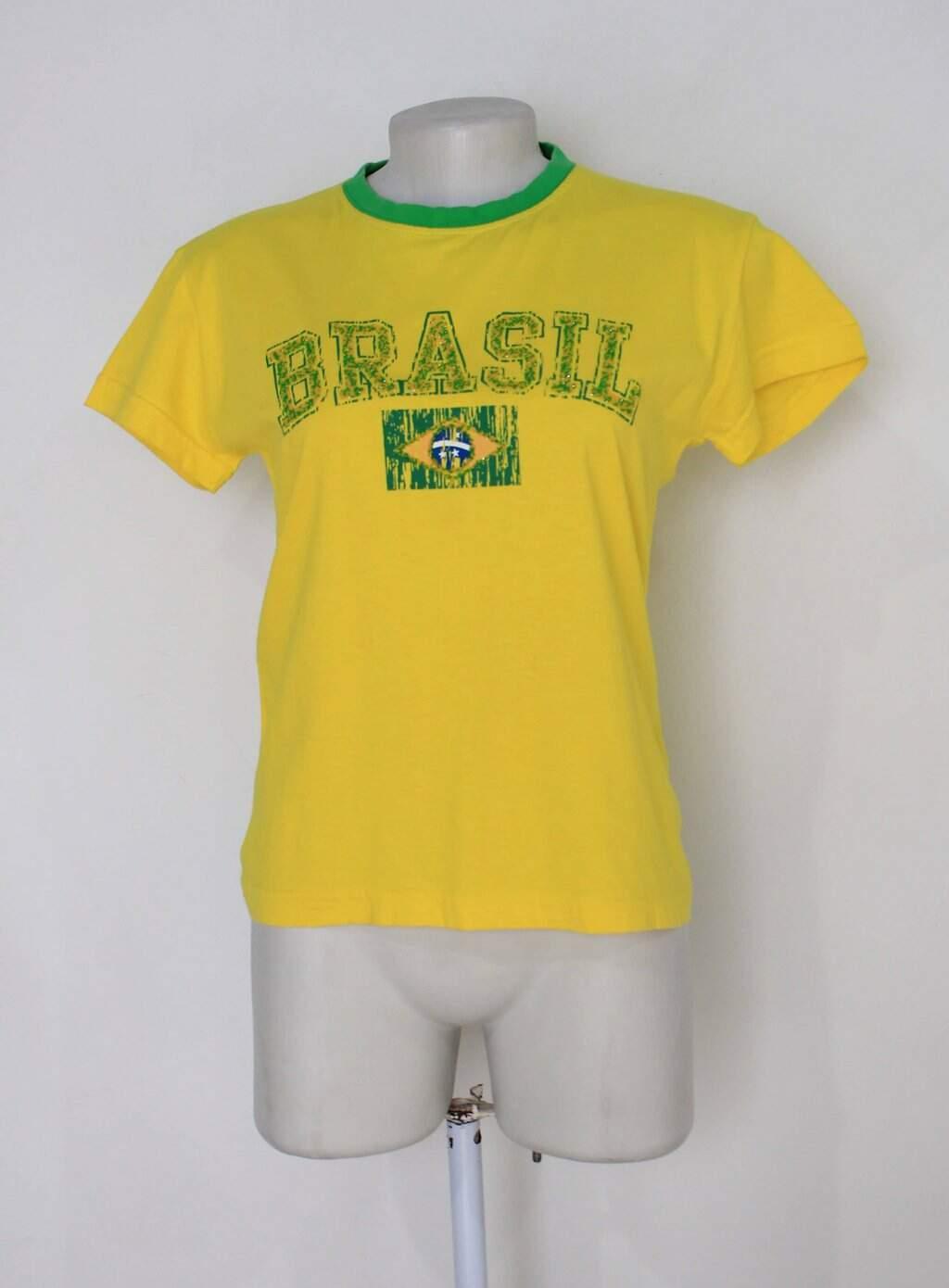 Baby Look Icq Brasil Feminina Amarela