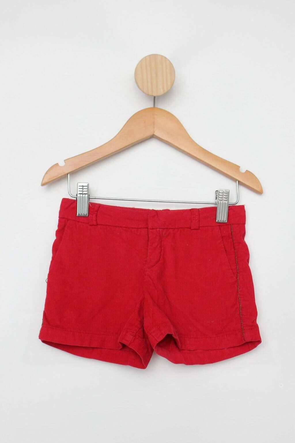 Shorts Cotelê Infantil Zara Vermelho