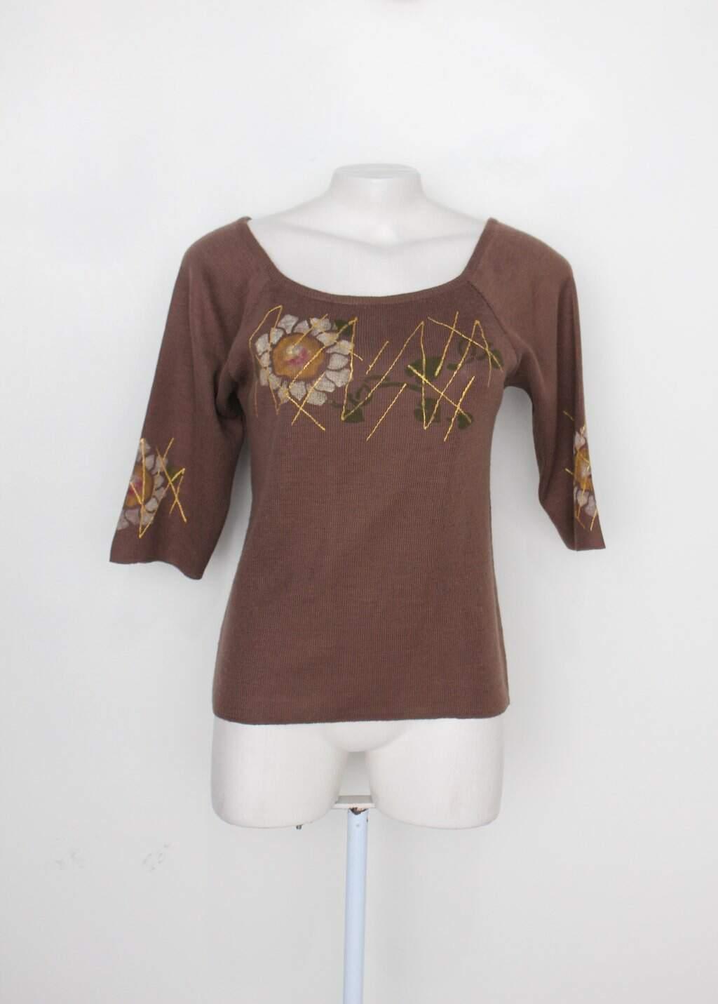 Malha De Tricot Feminina Marrom Com Silk