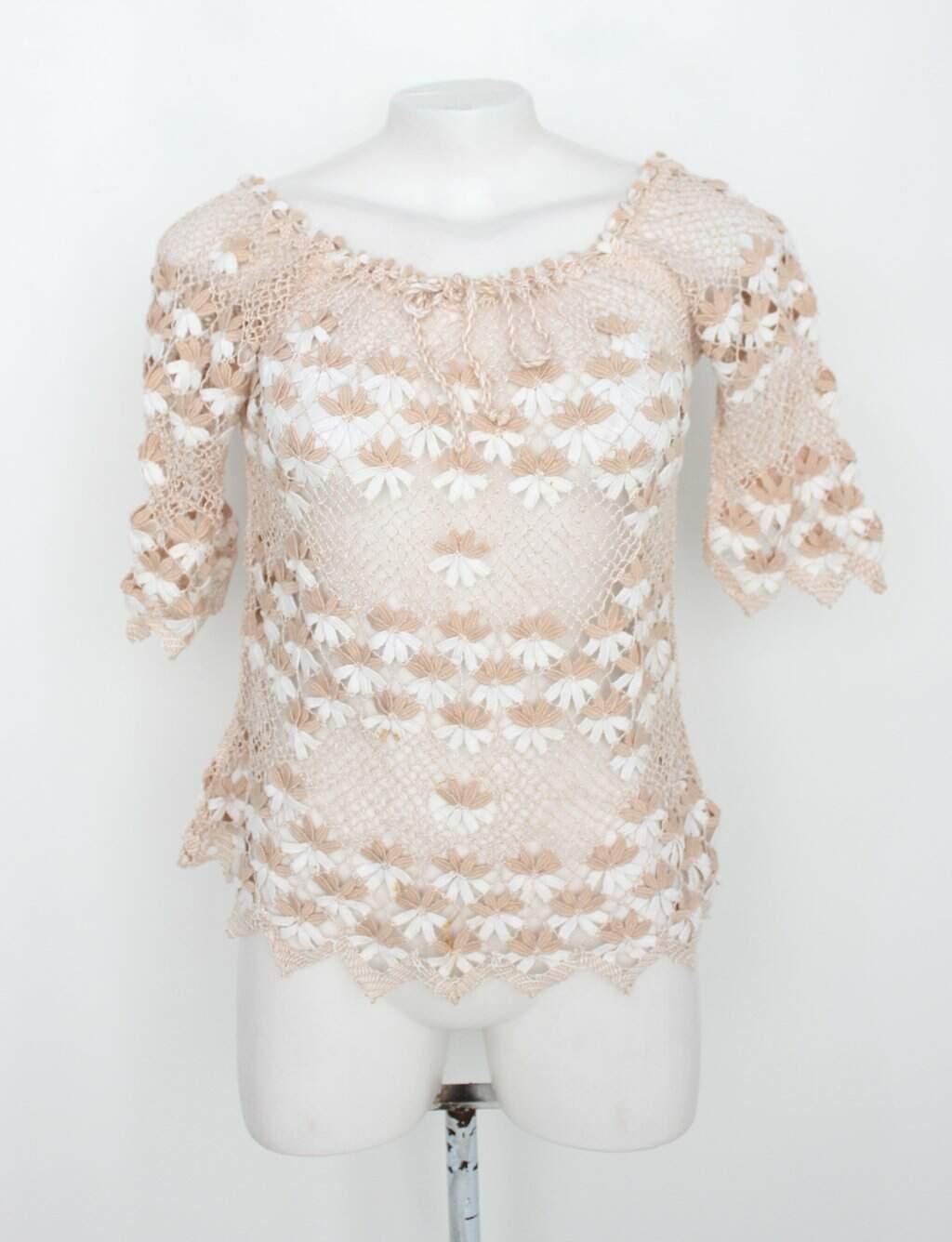 Blusa De Crochê Feminina Estampada