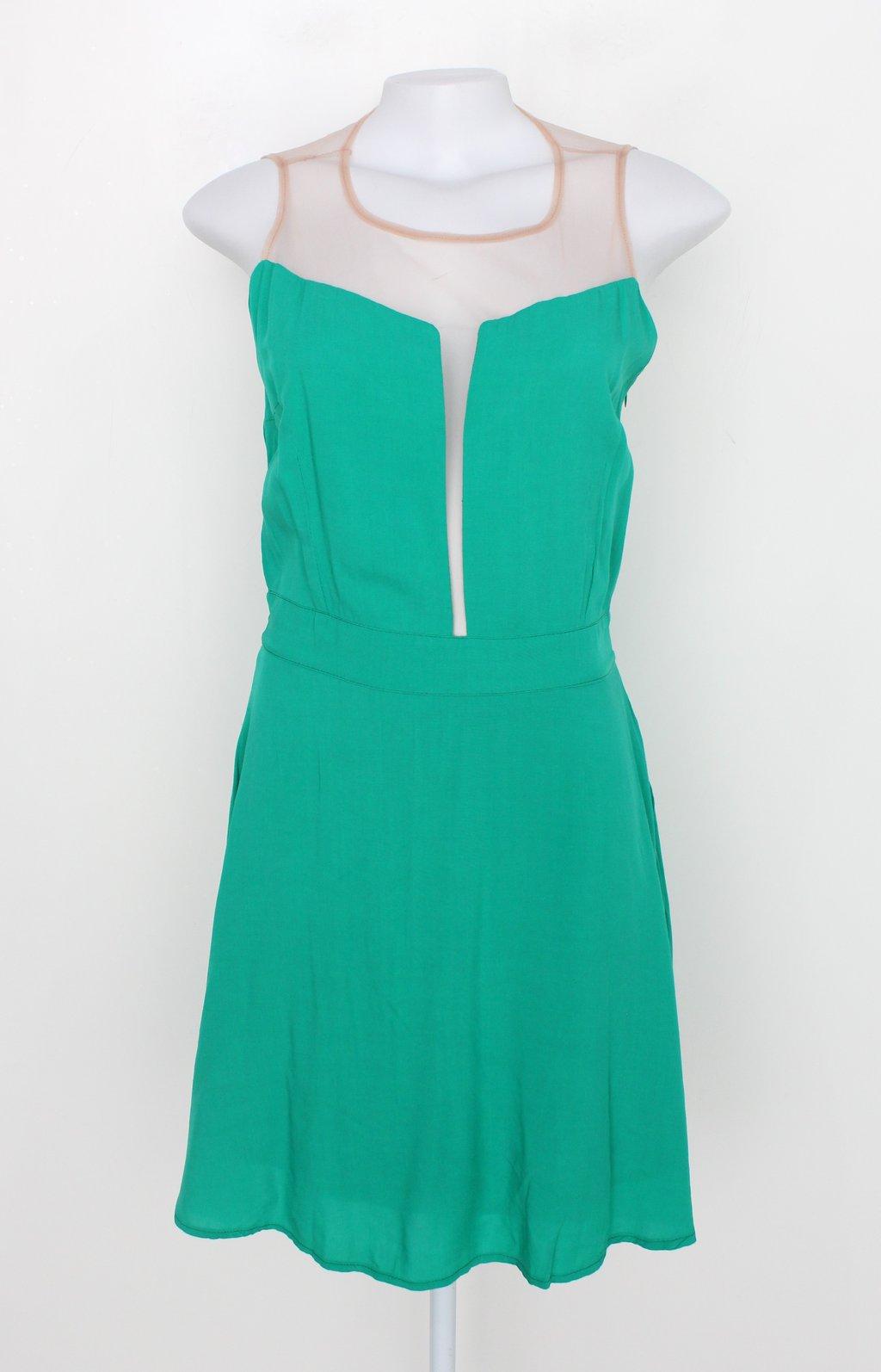 Vestido Maria Nina Feminino Verde Com Forro E Transparência
