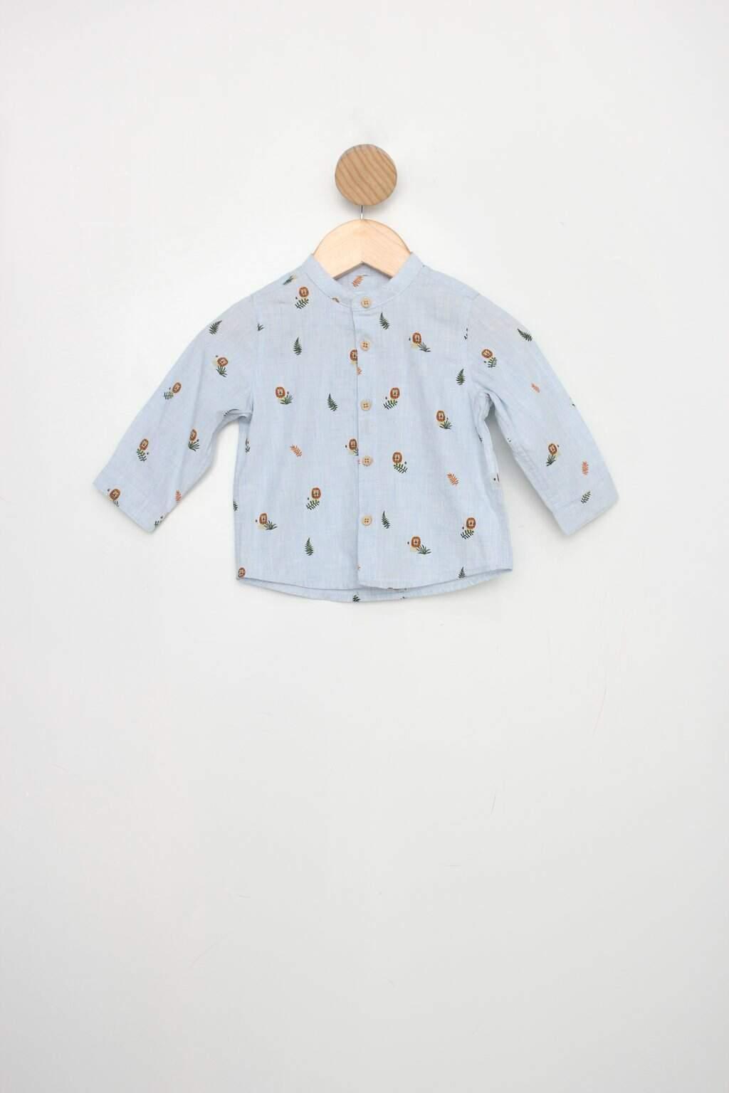 Camisa Infantil Zara Azul Estampada