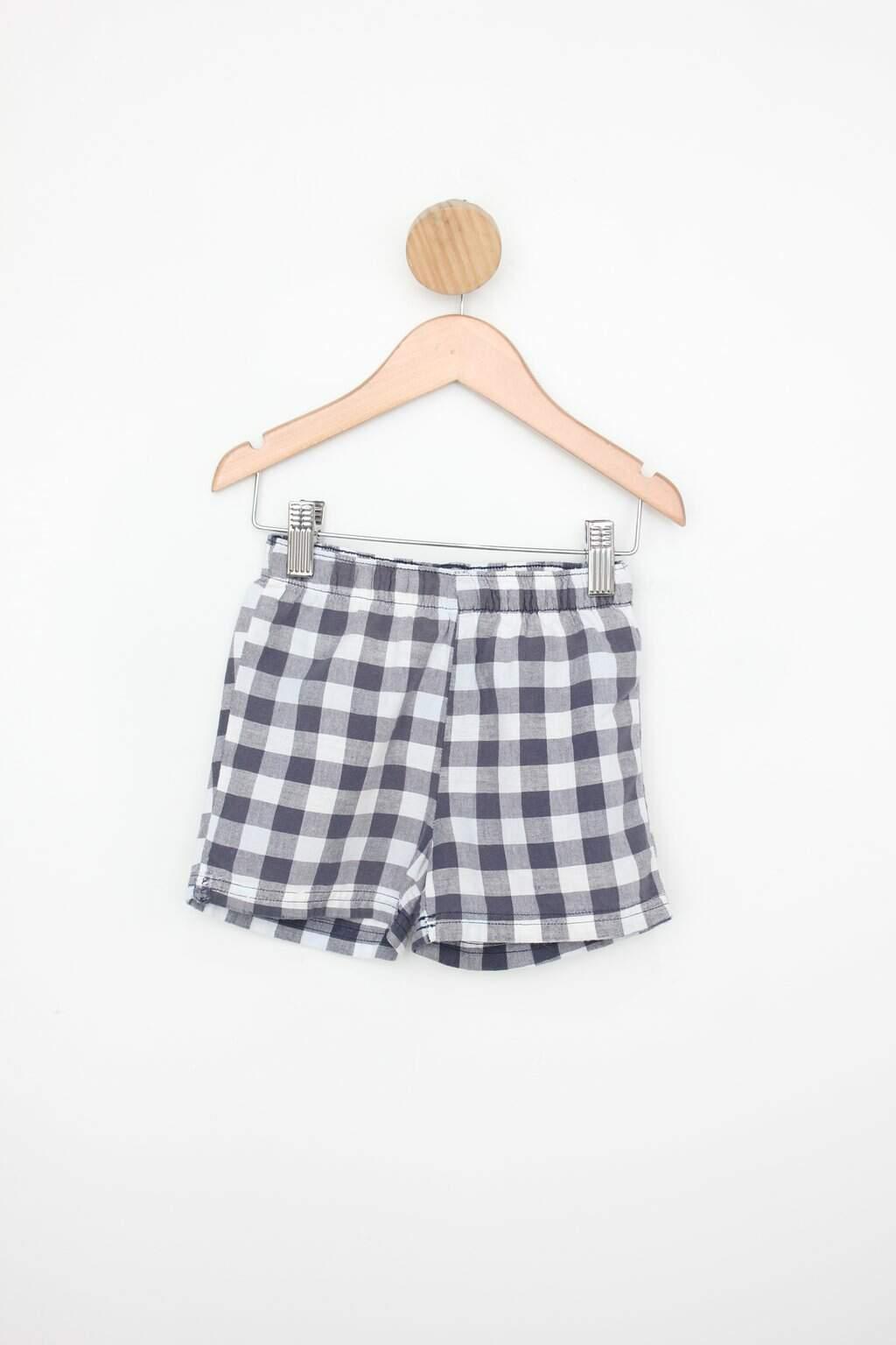 Shorts Infantil Hering Cinza E Branco Com Estampa Xadrez