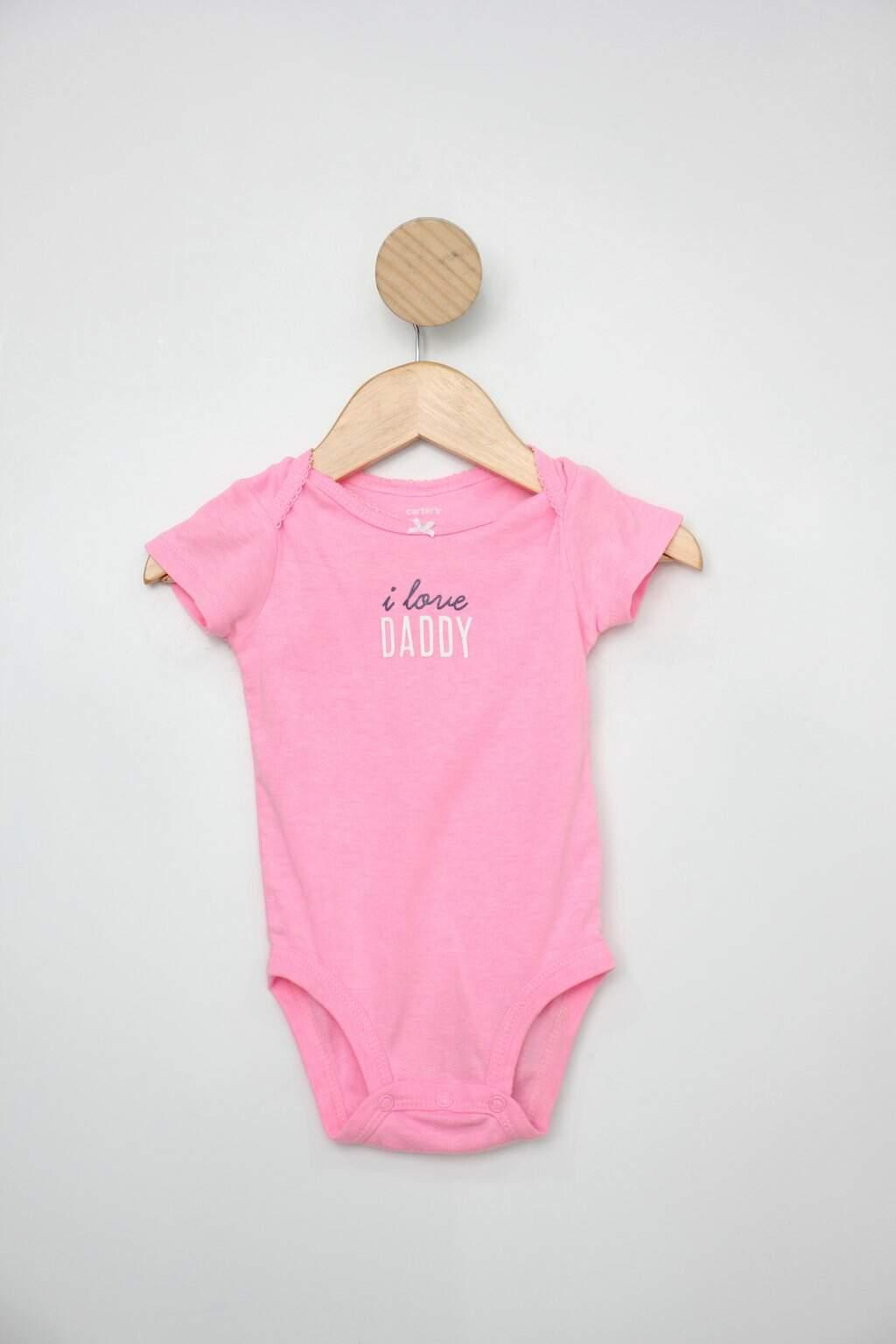 Body Infantil Carter&squo;s Rosa Com Estampa &squo;&squo;i Love Daddy&squo;&squo;