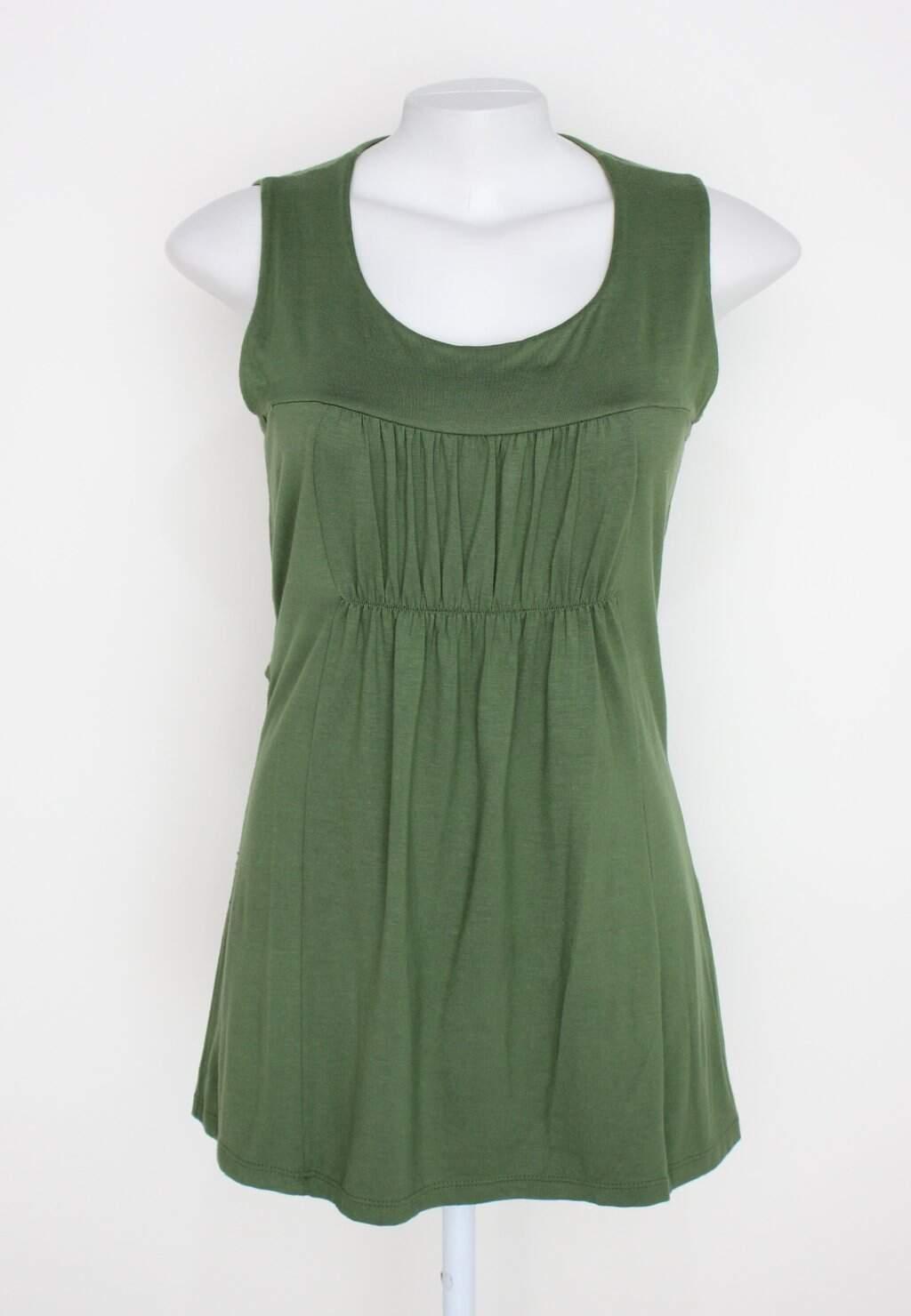 Vestido Renner Feminina Verde Com Franzido E Faixa Na Cintura