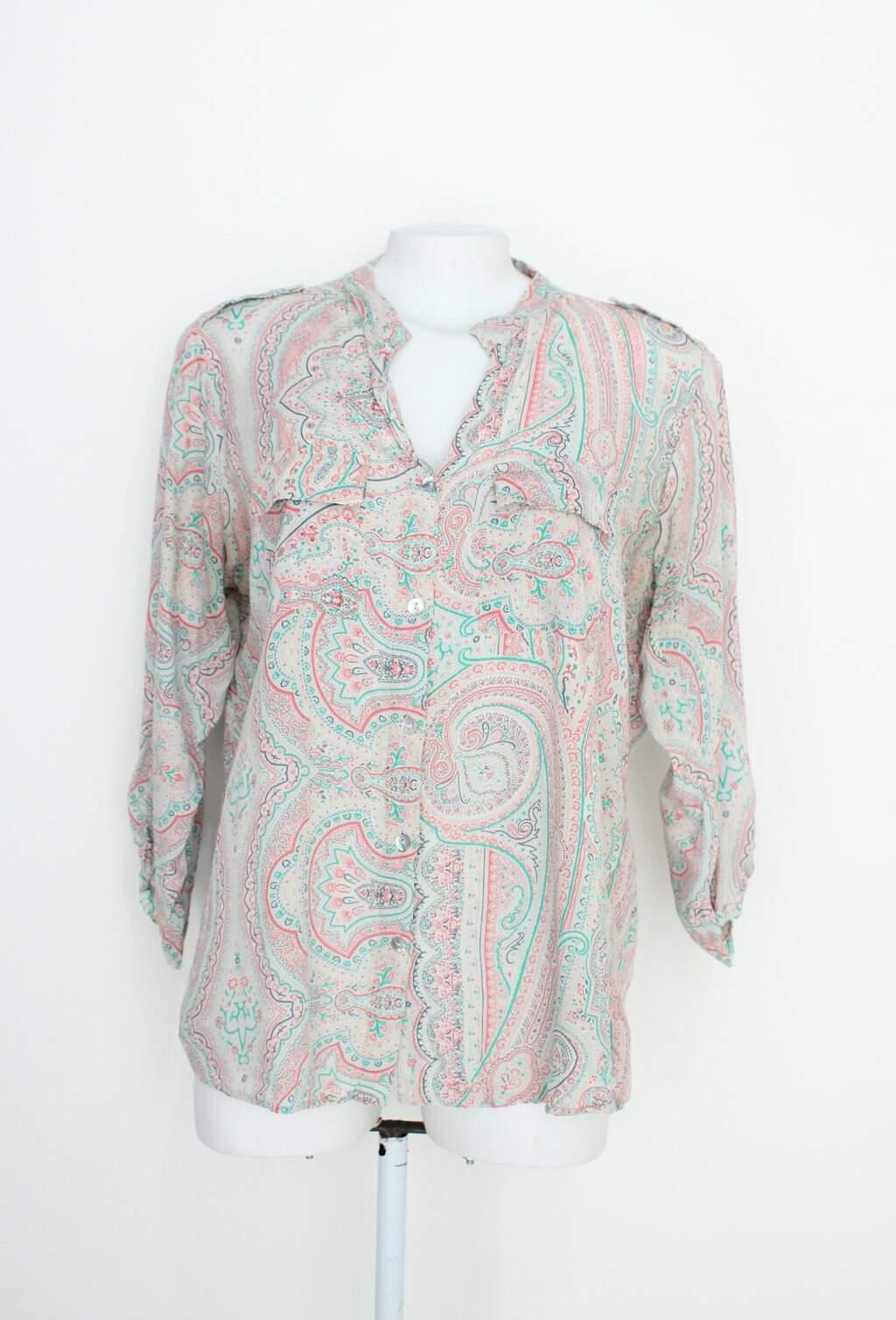 Camisa Cenarium Feminina Estampada Com Bolsos