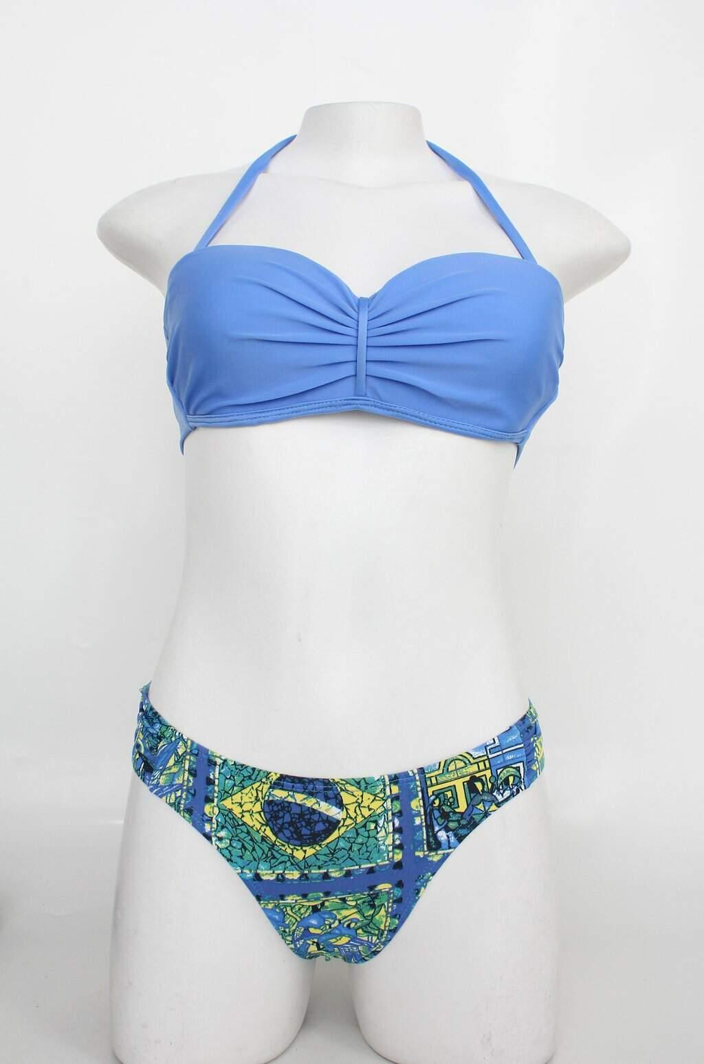 Biquíni Mar De Minas Feminino Azul Estampado Com Bojo E Drapeado