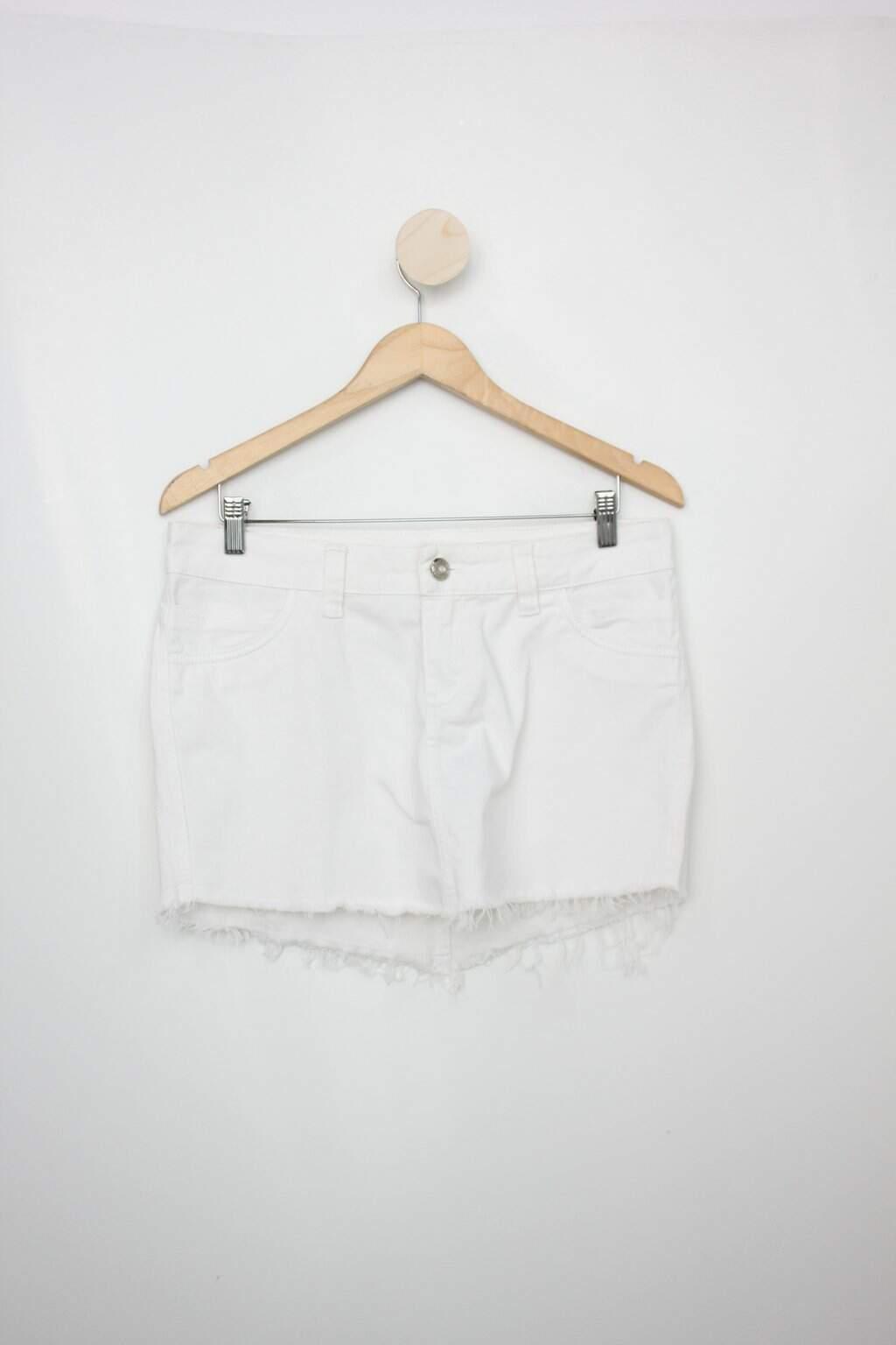 Saia De Sarja Kuerpo Feminina Off-white Com Barra Desfiada