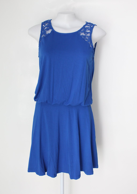 Vestido Feminino Azul Com Renda