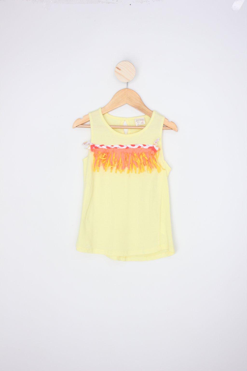 Regata Zara Infantil Amarela Com Franja Colorida