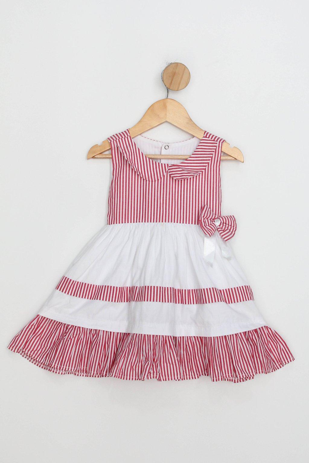 Vestido Infantil Cinderela Confecções Branco E Vermelho Listrado