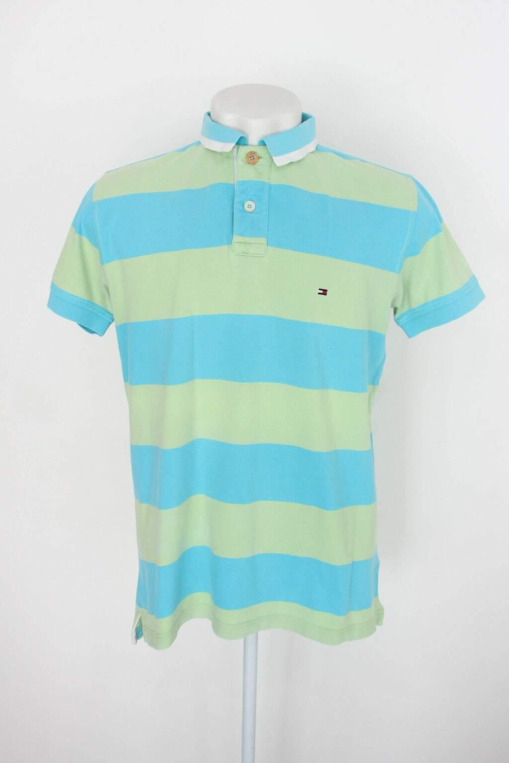 Camisa Polo Tommy Hilfiger Masculina Listrada Verde E Azul