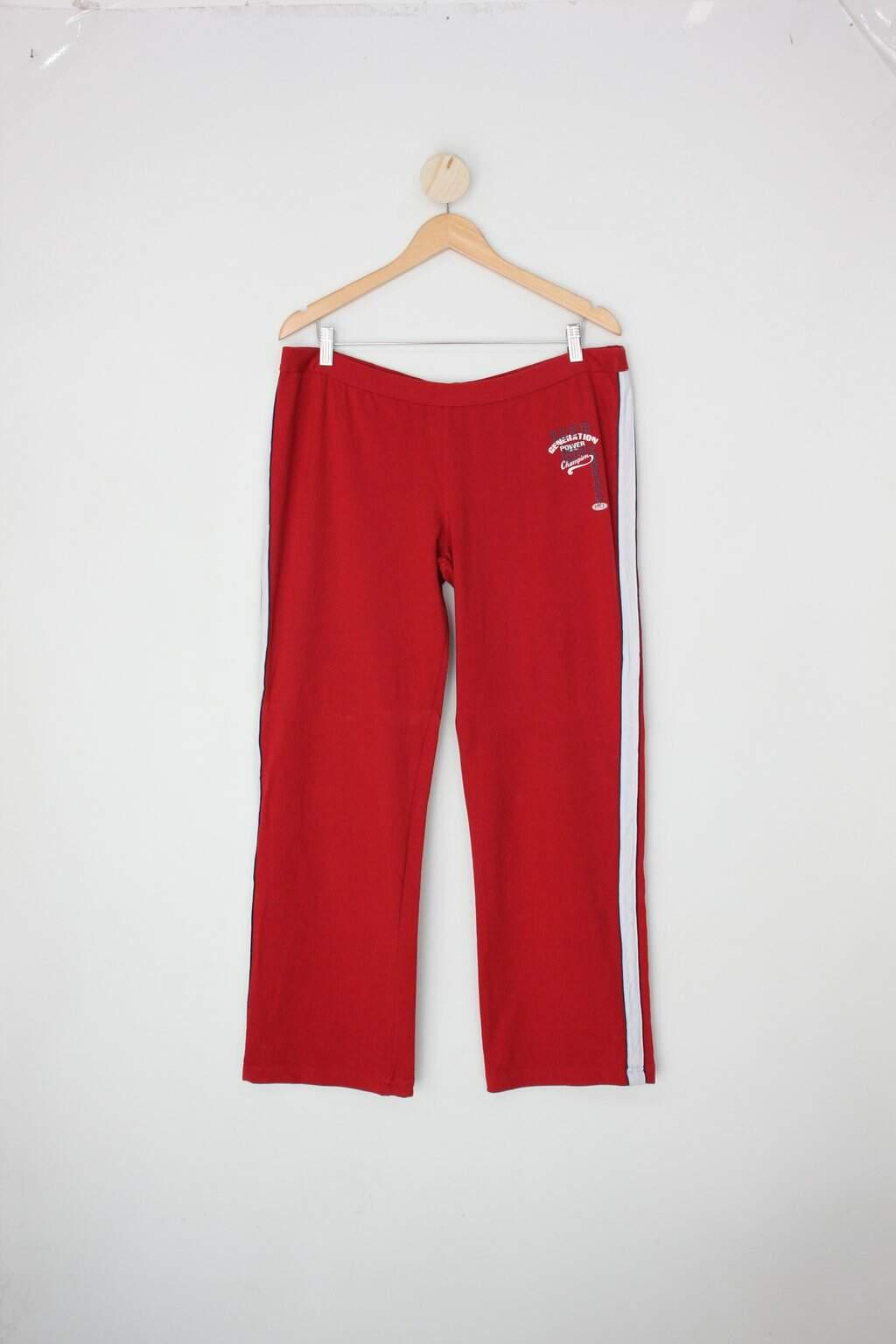 Calça De Tecido Malwee Feminina Vermelha Com Listra Lateral E Silk