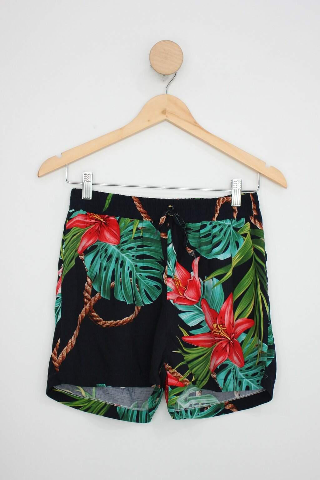 Shorts Feminino Azul Marinho Florido