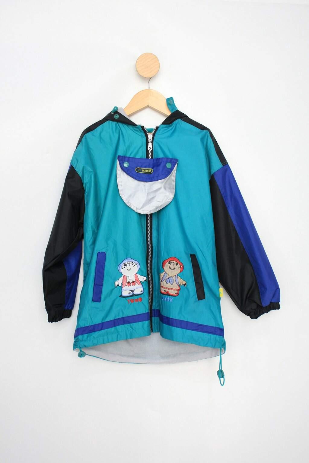 Jaqueta Impermeável Infantil Kido Azul E Preto