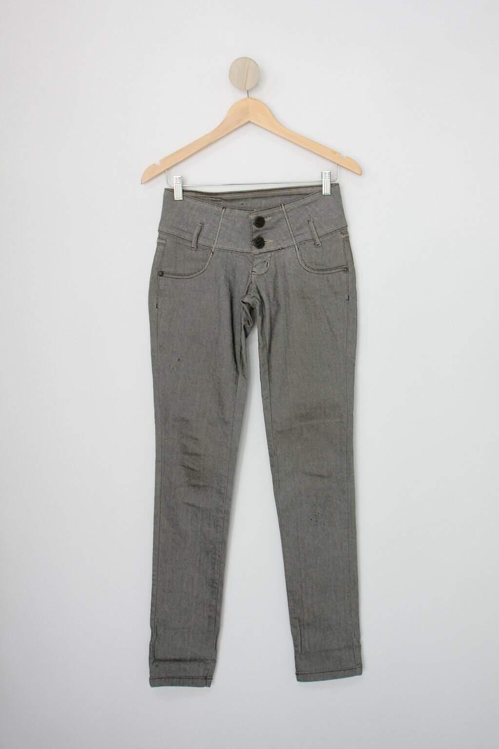 Calça Jeans Jeans.com Feminina Cinza