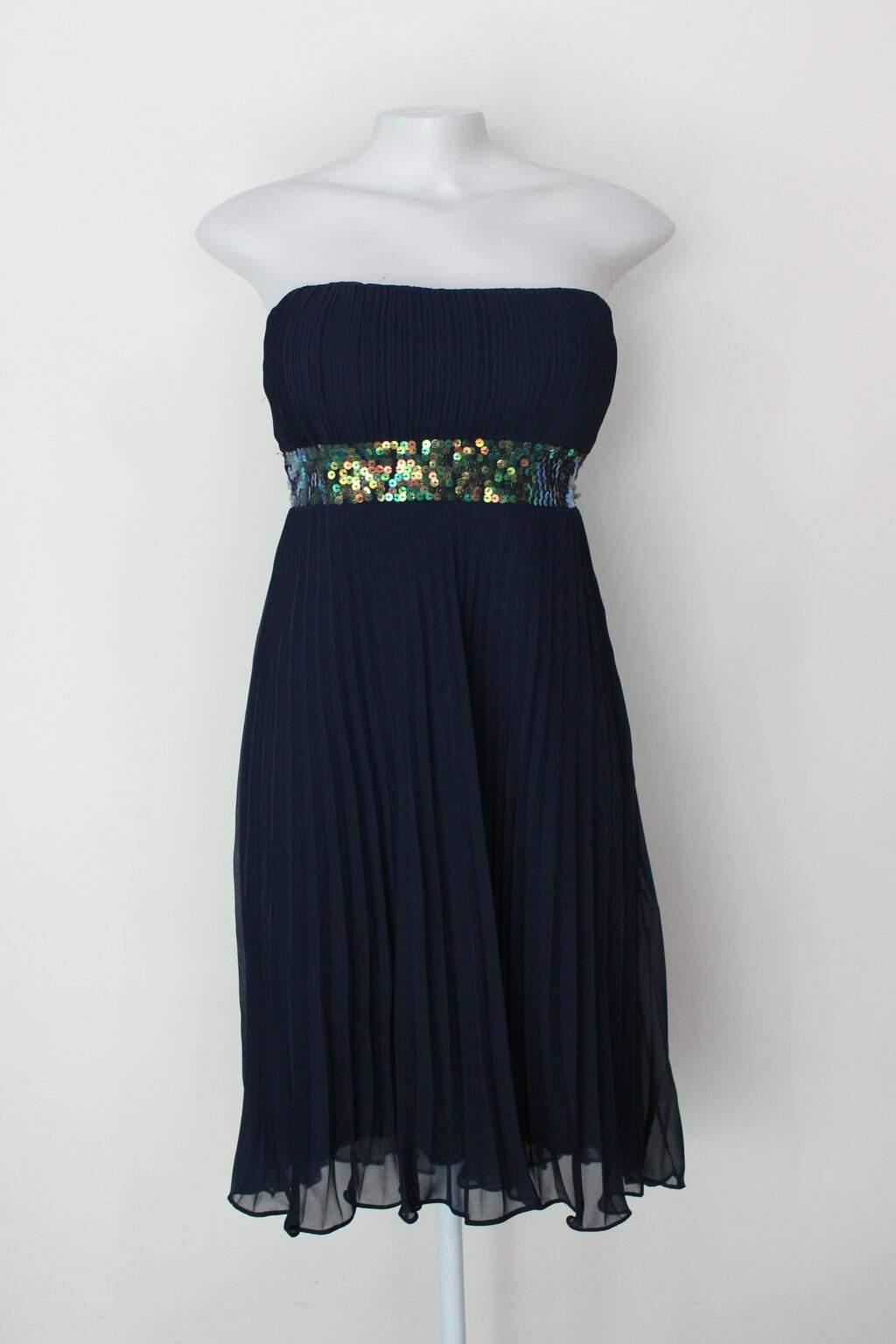 Vestido De Festa Feminino Azul Com Bordado E Bojo