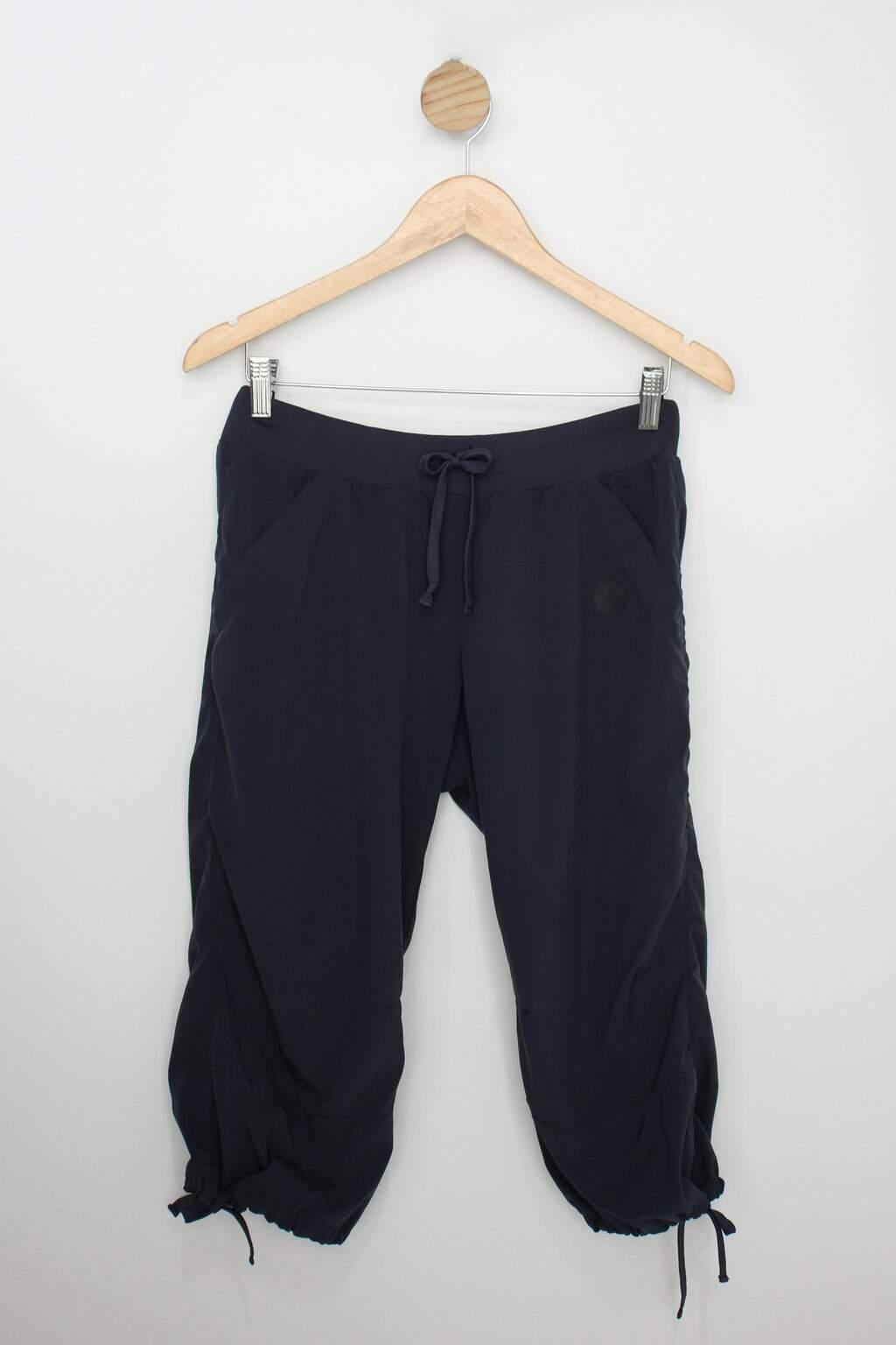 Calça De Tecido Feminina Azul Com Cós De Elástico