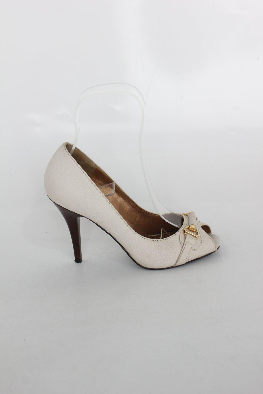 Sapato Peep Toe Jaet Set Feminina Bege Com Fivela