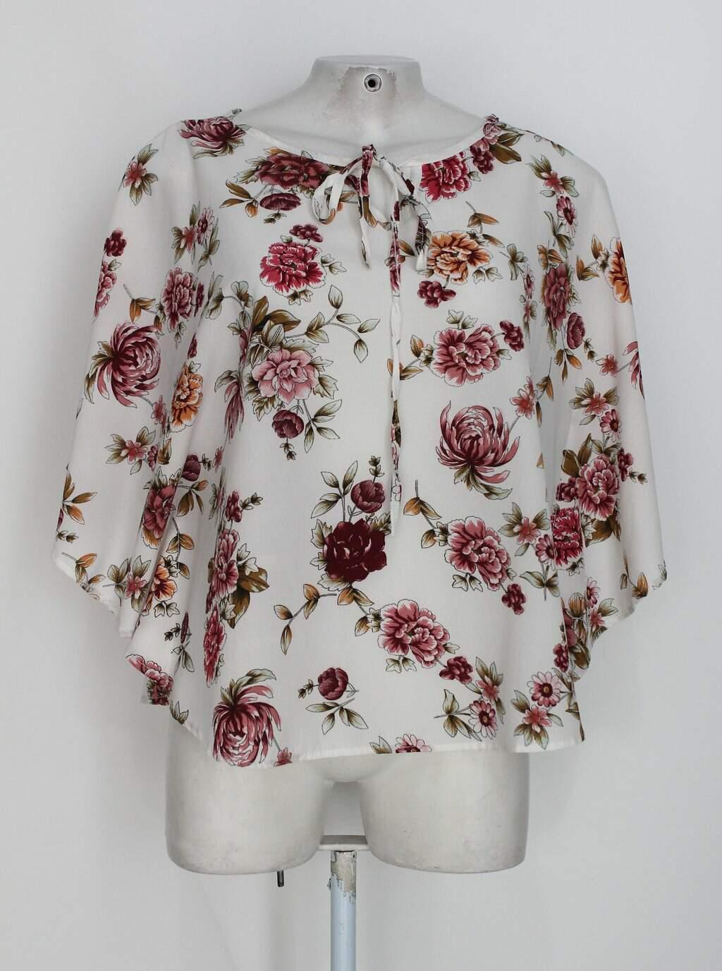 Blusa Godê H&j Feminina Off-white Com Estampa Floral