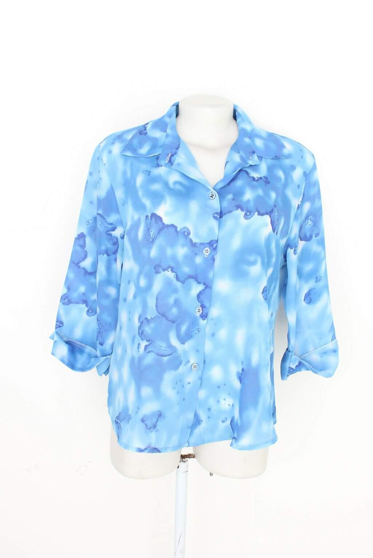 Camisa Feminina Azul Estampada