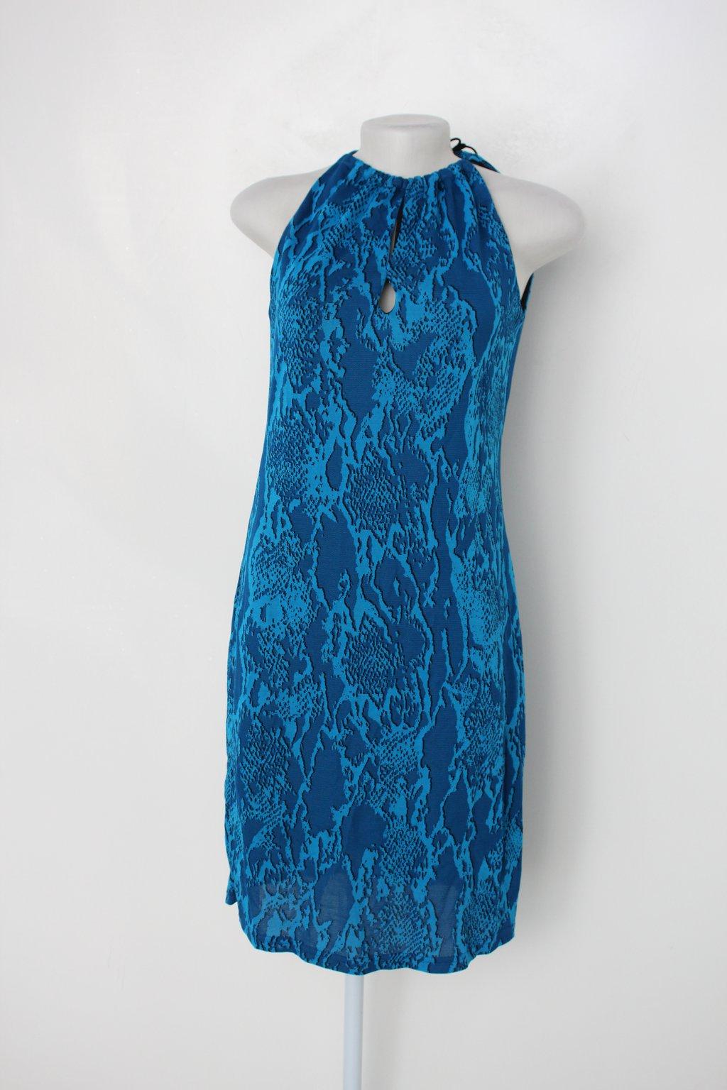 Vestido Union Brazil Feminino Azul Estampado Com Forro