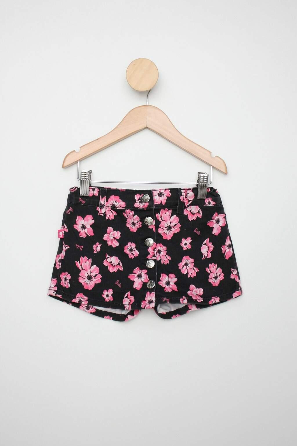 Shorts-saia De Sarja Infantil Riachuelo Preto Floral Da Barbie