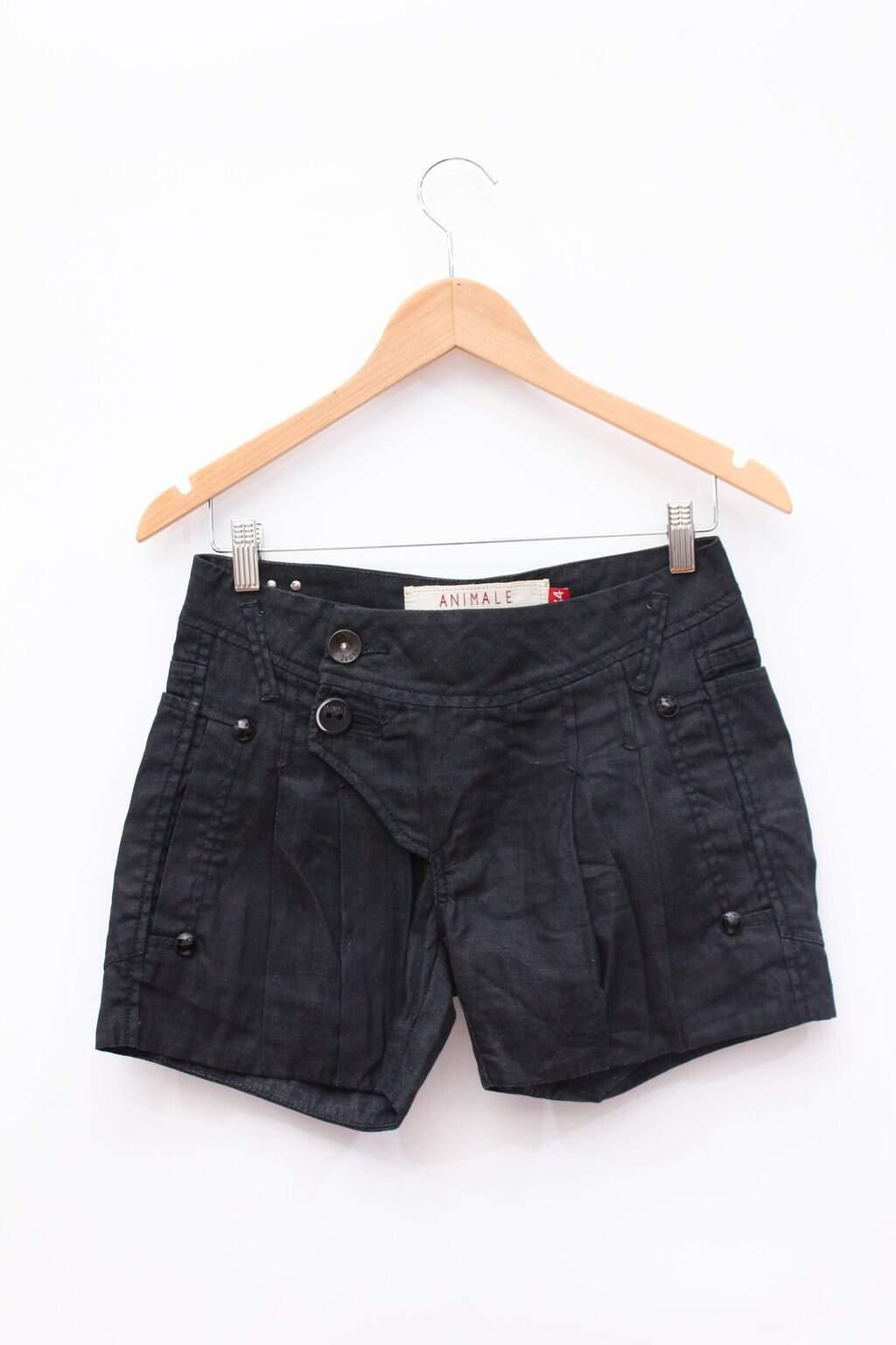 Shorts Jeans Preto Com Botões Animale
