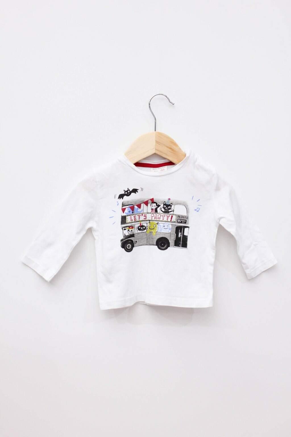 Blusa Branca Estampada Zara Baby