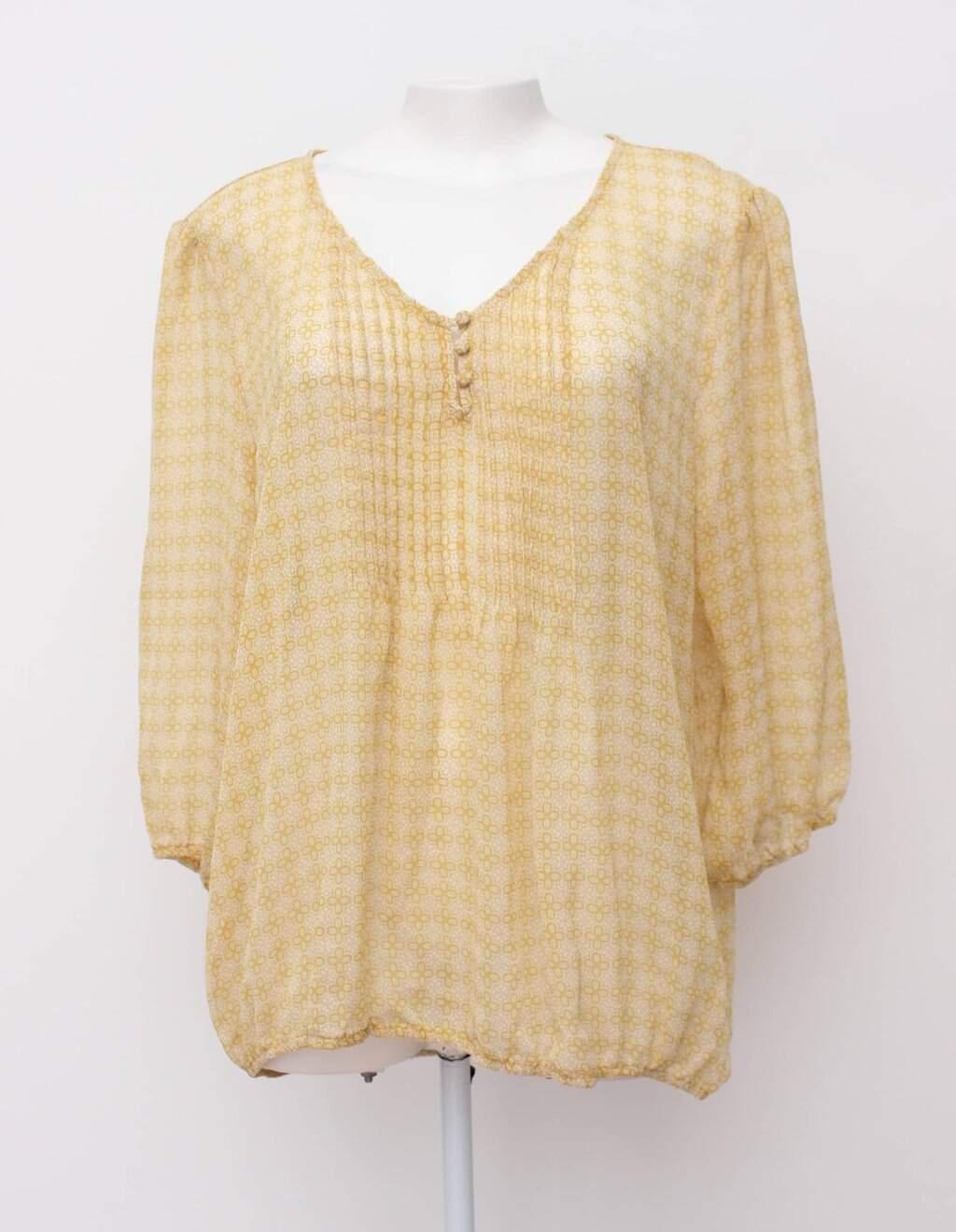 Blusa Amarela Estampada Com Pregas St John&squo;s Bay