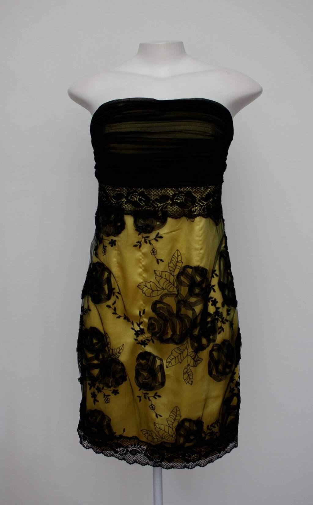 Vestido De Festa Rery Feminino Amarelo E Preto Com Renda E Bojo