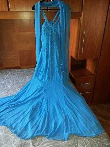 Vestido Longo Azul de Festa_