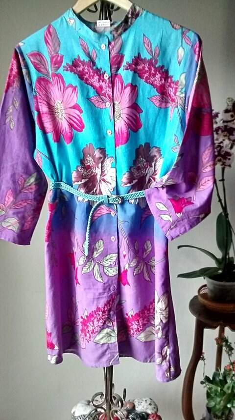 Vestido Chemise Florido Azul e Lilás _