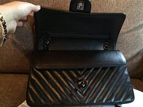 Bolsa Chanel Chevron All Black_foto de costas