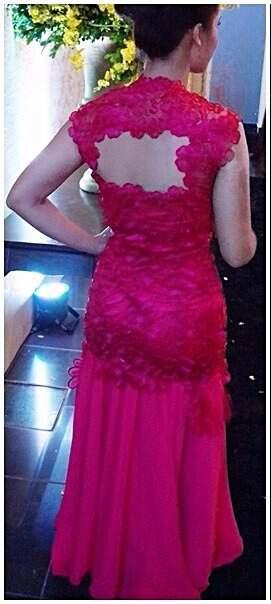 Vestido de Festa Sereia Rosa Pink_foto de costas