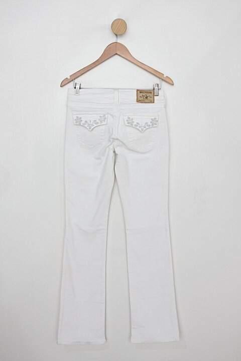 Calça de sarja true religion feminina branca_foto de costas