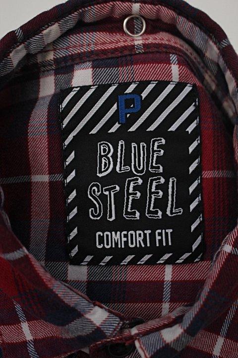 Camisa ml renner bluesteel feminina jeans e xadrez  vm/az_foto de detalhe