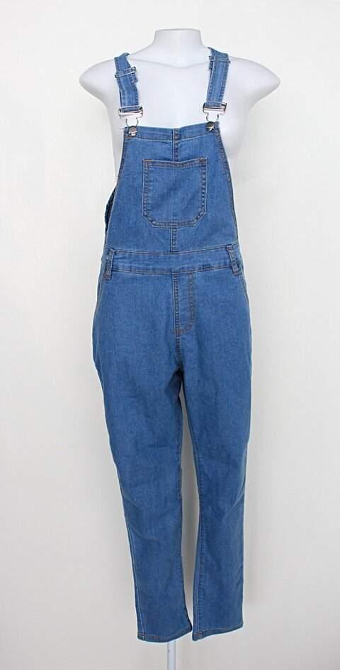 Jardineira jeans unissex azul denim_foto principal
