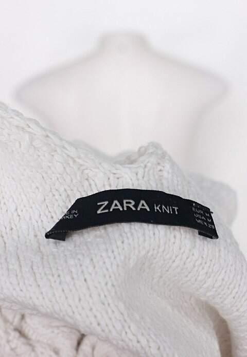 Regata de tricot zara feminina bege claro _foto de detalhe