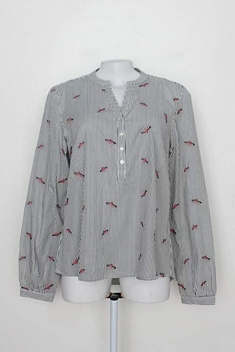 Camisa manga longa hering feminina listrada com Bordado de pássaro_foto principal