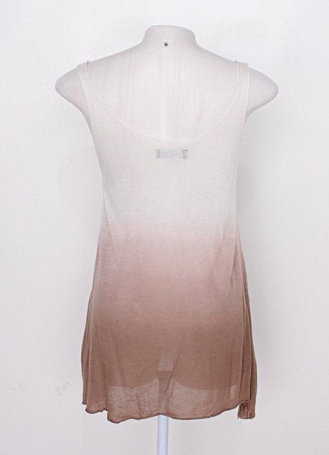 Regata de viscose viviane furrier feminina branca e marrom degradê _foto de costas