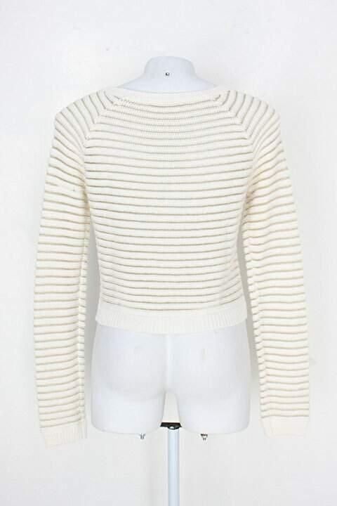 Blusa de tricô promod feminina branca e dourada_foto de costas