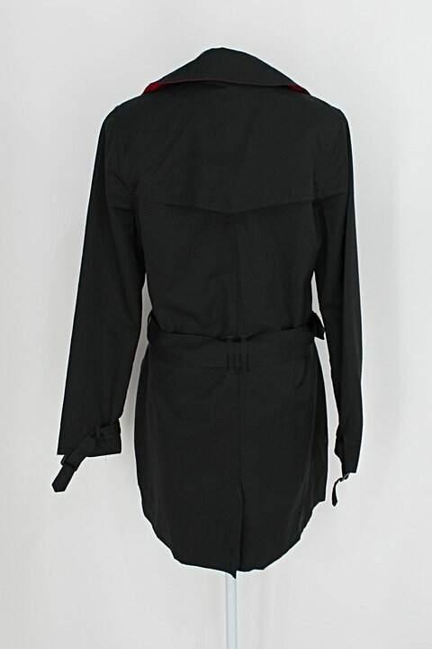 Sobretudo carrefour - tex feminino preto com Faixa na Cintura e forro_foto de costas