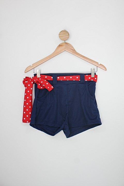 Shorts pin up feminina azul  com Faixa na Cintura_foto principal