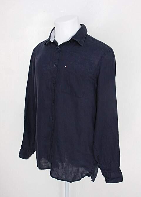 Camisa tommy hilfiger masculina azul marinho com bolso_foto de costas