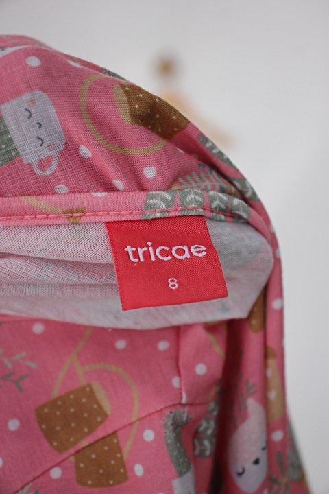 Vestido Infantil tricae rosa estampado_foto de detalhe