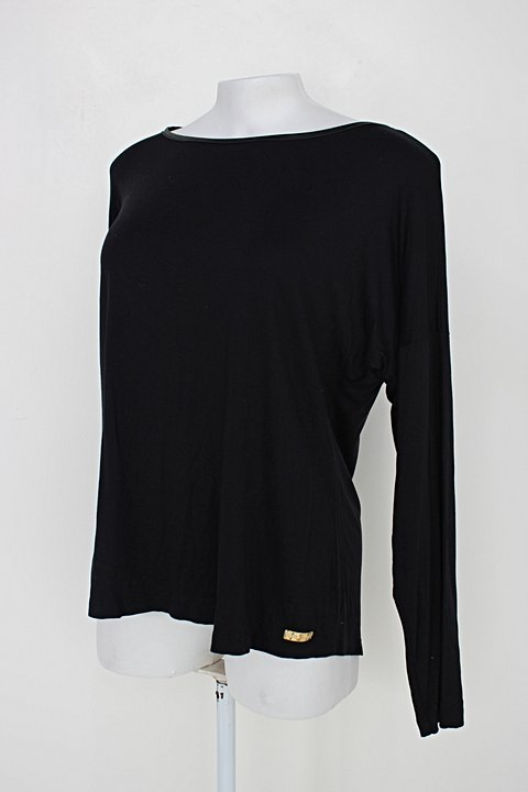 Blusa manga longa bella moça feminina preta_foto de detalhe