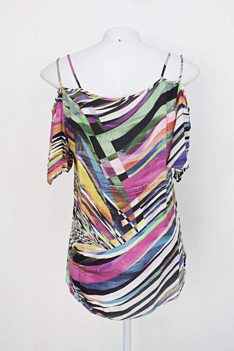 Blusa feminina estampa listras coloridas com Tiras_foto de detalhe